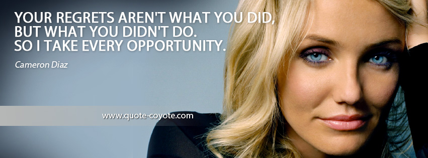 Cameron Diaz - Your regrets aren't what you did, but what you didn't do. So I take every opportunity.