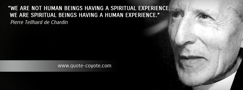 Pierre Teilhard de Chardin - We are not human beings having a spiritual experience. We are spiritual beings having a human experience.