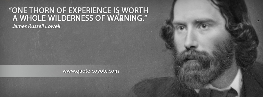 James Russell Lowell - One thorn of experience is worth a whole wilderness of warning.
