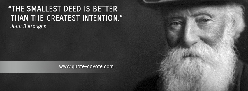 John Burroughs - The smallest deed is better than the greatest intention.