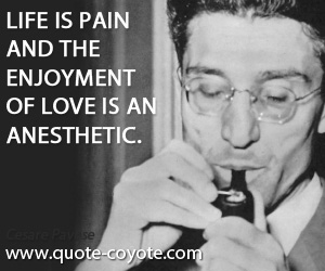 quotes - Life is pain and the enjoyment of love is an anesthetic.