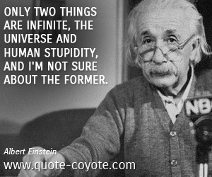 Human quotes - Only two things are infinite, the universe and human stupidity, and I'm not sure about the former.