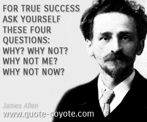 Success quotes - For true success ask yourself these four questions: Why? Why not? Why not me? Why not now?