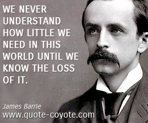 Need quotes - We never understand how little we need in this world until we know the loss of it.