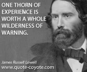 quotes - One thorn of experience is worth a whole wilderness of warning.