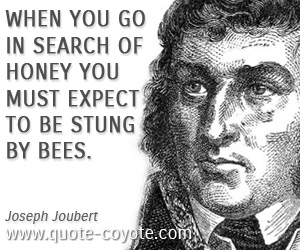 Life quotes - When you go in search of honey you must expect to be stung by bees.