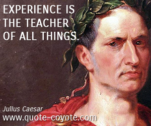 quotes - Experience is the teacher of all things.
