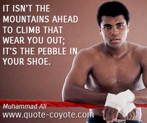quotes - It isn't the mountains ahead to climb that wear you out; it's the pebble in your shoe.