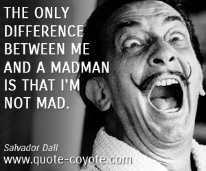 quotes - The only difference between me and a madman is that I'm not mad.