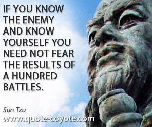 Knowing quotes - If you know the enemy and know yourself you need not fear the results of a hundred battles.