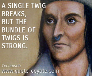Inspirational quotes - A single twig breaks, but the bundle of twigs is strong.