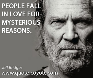 Witty quotes - People fall in love for mysterious reasons.