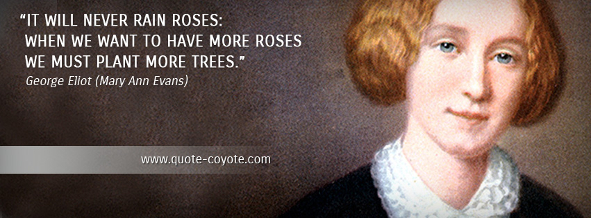 George Eliot - It will never rain roses: when we want to have more roses we must plant more trees.
