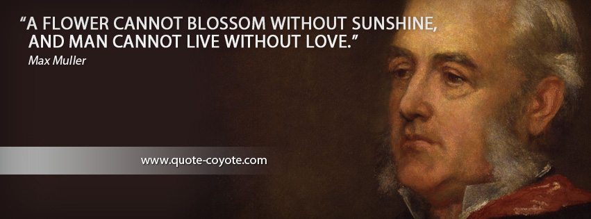 Max Muller - A flower cannot blossom without sunshine, and man cannot live without love.