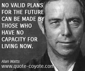 Life quotes - No valid plans for the future can be made by those who have no capacity for living now.