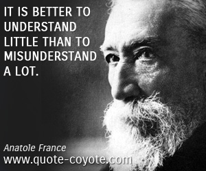 Little quotes - It is better to understand little than to misunderstand a lot.