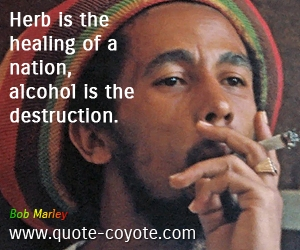 Alcohol quotes - Herb is the healing of a nation, alcohol is the destruction.