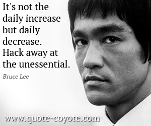quotes - It's not the daily increase but daily decrease. Hack away at the unessential.