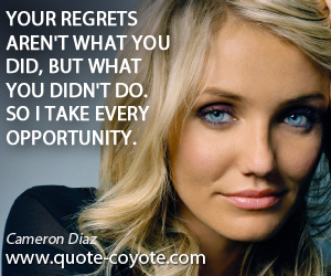quotes - Your regrets aren't what you did, but what you didn't do. So I take every opportunity.