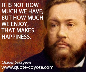 Happiness quotes - It is not how much we have, but how much we enjoy, that makes happiness.