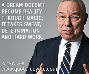 quotes - A dream doesn't become reality through magic; it takes sweat, determination and hard work.