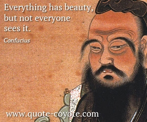 But quotes - Everything has beauty, but not everyone sees it.