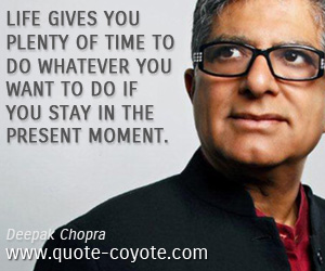 quotes - Life gives you plenty of time to do whatever you want to do if you stay in the present moment.
