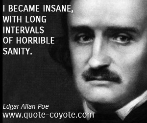 Fun quotes - I became insane, with long intervals of horrible sanity.