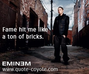 quotes - Fame hit me like a ton of bricks.