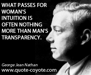 Passes quotes - What passes for woman's intuition is often nothing more than man's transparency.