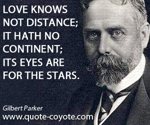 Eyes quotes - Love knows not distance; it hath no continent; its eyes are for the stars.