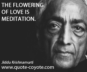 quotes - The flowering of love is meditation.