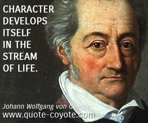 quotes - Character develops itself in the stream of life.