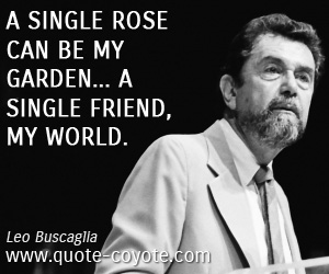 Friendship quotes - A single rose can be my garden... a single friend, my world.