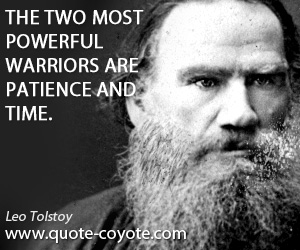 Powerful quotes - The two most powerful warriors are patience and time.