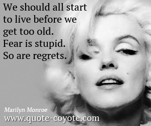Before quotes - We should all start to live before we get too old. Fear is stupid. So are regrets.