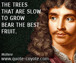 Best quotes - The trees that are slow to grow bear the best fruit.