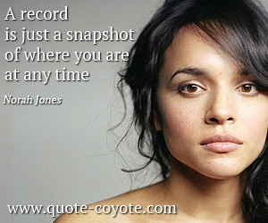 Time quotes - A record is just a snapshot of where you are at any time.