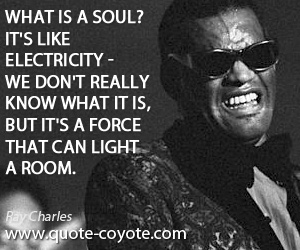 quotes - What is a soul? It's like electricity - we don't really know what it is, but it's a force that can light a room.
