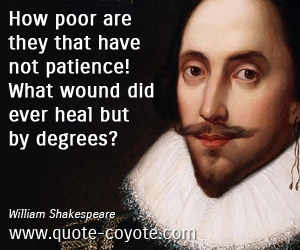 Patience quotes - How poor are they that have not patience! What wound did ever heal but by degrees?