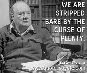 Curse quotes - We are stripped bare by the curse of plenty.