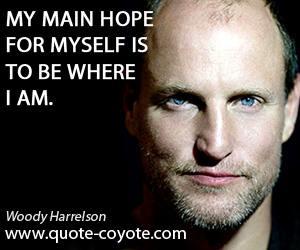 Hope quotes - My main hope for myself is to be where I am.