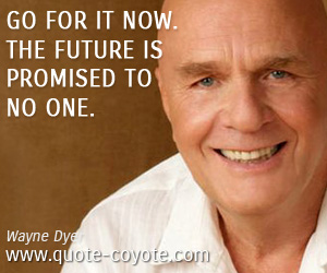 quotes - Go for it now. The future is promised to no one.